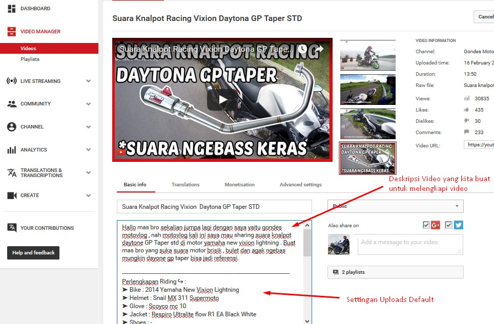 Cara Setting Channel Youtube Motovlog Pertama Kali